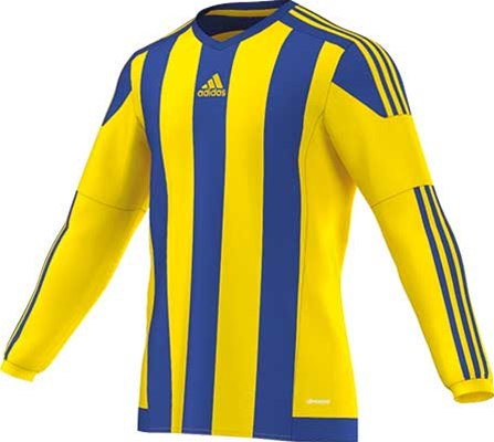 Adidas striped football jersey yellow-royal